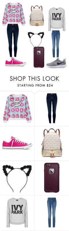 """best frand"" by alexiscmcdougald ❤ liked on Polyvore featuring WithChic, River Island, Converse, Michael Kors, LifeProof, Topshop and Calvin Klein"