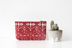SALE Tribal Screen Printed  Leather Pouch red  No. by CORIUMI