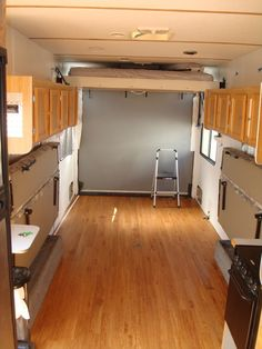 Move fridge to forward of trailer. Like the folding beds Inspiring RV Living & Camper Van Storage Solution Ideas Enclosed Trailer Camper Conversion, Cargo Trailer Conversion, Enclosed Trailers, Enclosed Car Hauler, Toy Hauler Camper, Camper Trailers, Camper Van, Utility Trailer Camper, Toy Hauler Trailers