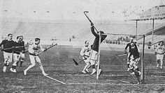 The Canadian Olympic lacrosse team during a match in London, England, 1908 / L'équipe olympique canadienne de crosse pendant un match à Londres, Angleterre, 1908