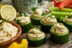 A delicious appetizer by Debbie Matenopoulos! Cucumber Hummus and White Bean Puree Cups! Don't miss Home & Family weekdays at 10a/9c on Hallmark Channel!