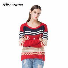 US $39.99 Misszonee Women Christmas Jesus Print Sweaters Casual Long Sleeve Autumn O Neck Deer Print Slim Pullover Sweater Winter Tops