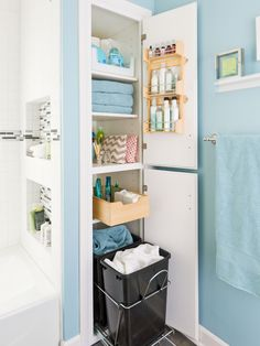 closet bathroom makeover modern bathroom storage packed small bathroom smart bathroom planning keeps necessities handy and out of the way an organizer on the closet bathroom closet images Small Bathroom Storage, Bathroom Shelves, Bathroom Organization, Organization Ideas, Organized Bathroom, Bathroom Ideas, Bathroom Remodeling, Small Storage, Small Bathrooms