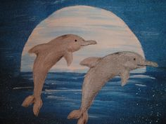 Hand painted Dolphins in Moonlight Canvas Tote