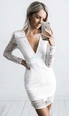 6143064f3c3b Sheath V-neck Long Sleeves Short White Lace Homecoming Cocktail Dress