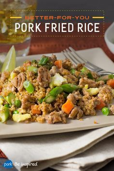 Classic fried rice gets a healthier makeover in this recipe, which is made using lean ground pork, quinoa instead of rice and good-for-you veggies. It's got 35 grams of protein and less than 400 calories per serving. Sausage Recipes, Rice Recipes, Asian Recipes, Cooking Recipes, Healthy Recipes, Recipies, Chinese Recipes, Healthy Meals, Keto Recipes