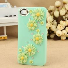 Handmade Clear Daisy Design Crystal Diamond Bling Flower Case Apple iPhone 4 4S Green with Free Protector and Dust-Proof Plug by OEM, http://www.amazon.co.uk/dp/B00D7886AI/ref=cm_sw_r_pi_dp_uugasb0ES2N93