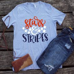 Excited to share the latest addition to my shop: Stars and Stripes vneck shirts for women American flag of July patriotic fourth of july red white and blue independence day bella canvas Fourth Of July Decor, 4th Of July Fireworks, 4th Of July Outfits, July 4th, Vinyl Crafts, Vinyl Projects, Vinyl Shirts, Cool Shirts, Independence Day Wallpaper