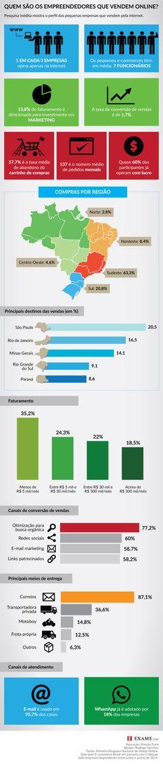 O raio x dos pequenos e-commerces brasileiros: infográfico sobre o perfil dos empreendedores online.