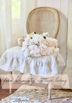 NEW French Country Cottage Everyday Elegance Linens - While I was in Europe being mesmerized by the elegance, the charm and the ambiance. I was also working on something back home. French Country Bedrooms, French Country Cottage, French Country Style, French Country Decorating, Country Farmhouse, Country Living, Farmhouse Decor, Antique Dining Chairs, Dining Chair Slipcovers