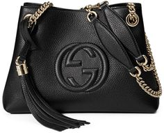 Gucci Soho Small Leather Tote Bag w/ Chain Straps, Black and tassel.  So Classic and gorgeous!