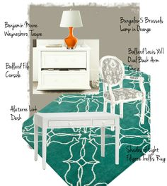 Love this color palette: orange + teal + khaki. Great for a home office!