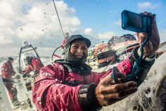 This is a Team SCA selfie. Gotta love it. Amazing women at sea and racing to win the Volvo Ocean Race!