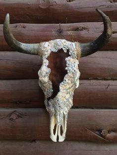 Lace and crystal cow skull Deer Skull Art, Deer Skulls, Skull Decor, Longhorn Skulls, Bull Skulls, Shabby Sheek Decor, Deer Head Decor, Painted Cow Skulls, Taxidermy Decor