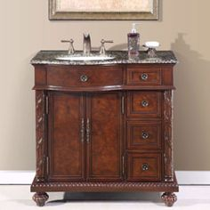 "36"" Victoria - Bathroom Vanity Single Sink Cabinet (English Chestnut Finish Granite) #Silkroad #HomeRemodel #BathroomRemodel #BlondyBathHome #BathroomVanity"