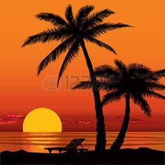 Illustration of Summer holidays background Sunset View Poster Vector beach resort wallpaper vector art, clipart and stock vectors. Palm Tree Silhouette, Sunset Silhouette, Silhouette Painting, Beach Sunset Painting, Sunset Art, Beach Art, View Wallpaper, Sunset Wallpaper, Art Abstrait