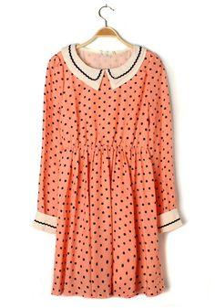 Multicolor Polka Dot Buttons Lapel Chiffon Dress