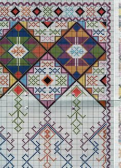 Traditional embroidery patterns, traditional cross stitch, vintage embroidery, ΣΤΑΥΡΟΒΠDmc Cross Stitch, Cross Stitch Embroidery, Cross Stitch Patterns, Vintage Embroidery, Embroidery Patterns, Navajo Pattern, Bead Sewing, Beaded Crafts, Bohemian Rug