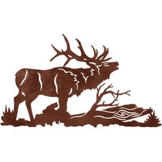 Bull Elk Laser Cut Wall Art Mural by CabinExclusive on Etsy