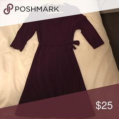 Dress Never worned, the color is eggplant with3/4 sleeve.    92% polyester, 8% spandex. Dresses Midi