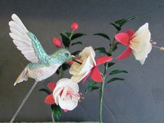 hummingbird cake topper fushia flower wedding by sweetpeasugarart, $130.00