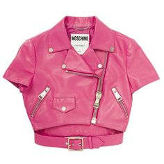 MOSCHINO Short Sleeve Cropped Leather Jacket ($1,002) ❤ liked on Polyvore featuring outerwear, jackets, moschino, coats, pink, pink jacket, cropped leather jacket, 100 leather jacket, real leather jacket and genuine leather jacket
