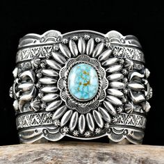 "Darryl Becenti ""Glory Hallelujah"" Bracelet Navajo Sterling Silver Turquoise"