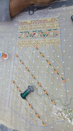 Zardosi Embroidery, Hand Embroidery Dress, Couture Embroidery, Embroidery Suits, Embroidery Fashion, Hand Embroidery Patterns, Beaded Embroidery, Hand Work Design, Embroidery Techniques