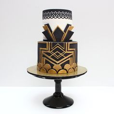 Great Gatsby themed cake! Favourite part of the cake is the bottom tier, loved creating the architectural design!