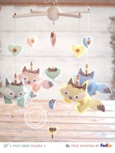 Baby Fox Mobile Baby Nursery Mobile Fox Baby Crib by LollyCloth