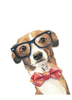 Greyhound Dog Watercolor PRINT - Italian Greyhound, Nerd, Nerdy, Dog Illustration, 5x7 Art Print on Etsy, $9.64