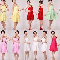 Sexy Women's Mini Dress Wedding Bridesmaid Prom Party Evening Short Formal Dress #Unbrand #OneShoulder #Formal