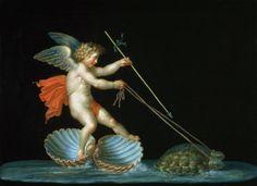 Michelangelo Maestri (Italian ca1779-ca1812) ~'Cupid Being Led By Tortoises'