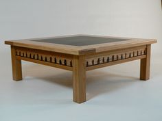 Square Wooden Coffee Table With Glass Top