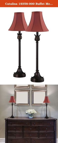 Catalina 19358-000 Buffet Metal Buffet Lamps with Burgundy Fabric Bell Shades 2-Pack, , Bronze. Illuminate your living room, family room, or dining room with these traditionally styled buffet lamps. The metal buffet lamps features a decorative base with a Bronze finish. The lamps have Burgundy fabric bell shades. These lamps are rated for 120-volts and use 40-watt type a incandescent bulbs (not included). the light source is soft and the illumination is pointed downwards. Buffet lamps are...