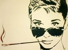 SMOKIN AUDREY SALE 17 x 21 Framed Audrey Hepburn and by MrMahaffey, $65.00