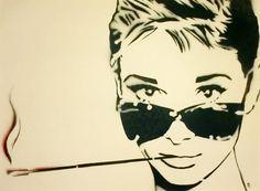 SMOKIN AUDREY SALE 17 x 21 Framed Audrey Hepburn and by MrMahaffey, $65.00