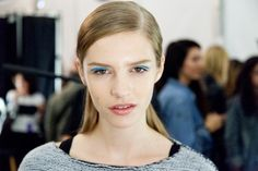 """From Shiseido for Michael Kors' Spring '13 show. """"Painting bright streaks into...creases"""" or """"scribbles"""" (Dick Page)."""