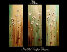 """Original Abstract Triptych 3 panel Contemporary modern art on canvas painting 'Bliss""""by Nicolette Vaughan Horner"""