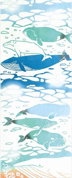 Japanese Tenugui cotton towel fabric. Dynamic blue whale designs. High quality tenugui fabrics made of soft 100% cotton cloth and hand dyed by Japanese master dyers. [ H o w T o U s e ] * towel * washcloth * dishcloth * headband / bandanna * scarf * wall hanging (like a painting or textile) * wrapping * place mat * table runner / center piece * book jacket, and... MORE! Enjoy your own unique way! [ M a t e r i a l ] Cotton 100% [ D i m e n s i o n s ] 36×90cm / 14×35 [ C a ...