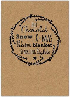 Het Noteboompje kerstkaart kraft kraftpapier christmas christmascard x-mas xmas card krijtbord chalkboard wol wool deer hert gewei