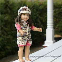 """Free crochet pattern for 18"""" dolls. Has a bag pattern, too, but it's not in the pic. Cute!"""