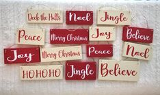 Set of 3 mini wood sign christmas ornaments - you choose set of 3 wood christmas tree ornaments - Ornamental Christmas Craft Show, Christmas Blocks, Christmas Wood Crafts, Cheap Christmas Gifts, Christmas Words, Christmas Signs Wood, Christmas Tree Ornaments, Holiday Crafts, Christmas Decorations