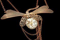 Steampunk Necklace Dragonfly Copper Vintage Watch by DesignsBloom, $64.99