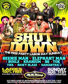 Labor Day Weekend Labor Day Shutdown @ BB Kings Sunday August 31, 2014 « Bomb Parties – Club Events and Parties – NYC Nightlife Promotions