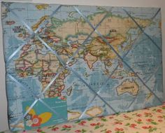 Extra large Clarke & Clarke Blue World Map Hand Crafted Fabric Notice / Pin / Memo Board