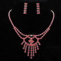 свадебные Элегантные горный хрусталь кристалл серьги и ожерелье комплект ювелирных изделий – RUB p. 831,39