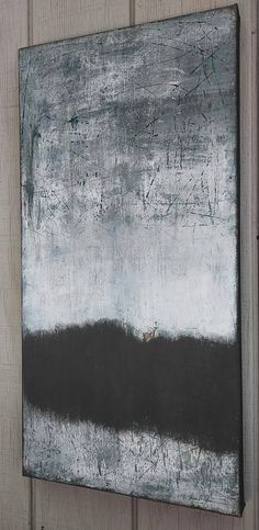 Original Minimalist Abstract Landscape Painting Gray Modern