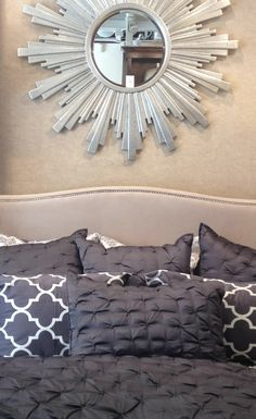 Beautiful Sophia bedding paired with the Mimosa bedding in charcoal. Love the radiant Soleil mirror hung above the bed. #zgallerie