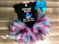 "Black bodysuit or shirt with matte and glitter vinyl ""Birthday Shark"" design. Full and fabulous tutu and big rhinestone hair bow available! 2nd Birthday Party For Girl, 1st Birthday Outfit Girl, Girl Birthday Themes, First Birthday Tutu, Birthday Ideas, Party Outfits, Tutu Outfits, Club Outfits, Shark Party"